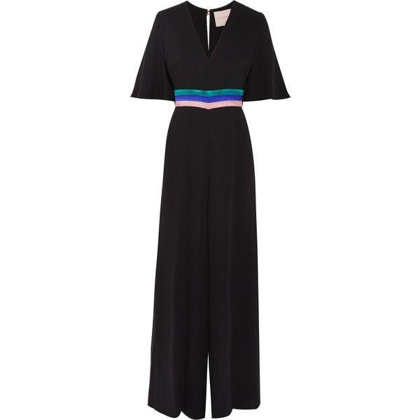 Roksanda Satin-trimmed silk jumpsuit (41 945 UAH) ❤ liked on Polyvore featuring jumpsuits, roksanda, striped jumpsuit, jump suit, wide leg jumpsuit and sleeve jumpsuit