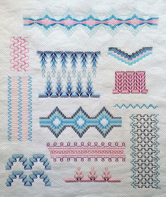 Huck Weaving Sampler FO by gotthebutton, via Flickr LOTS of samplers!