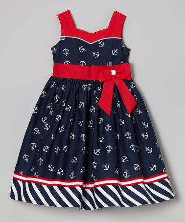 Another great find on #zulily! Navy  Red Anchor Dress - Girls by Jayne Copeland #zulilyfinds