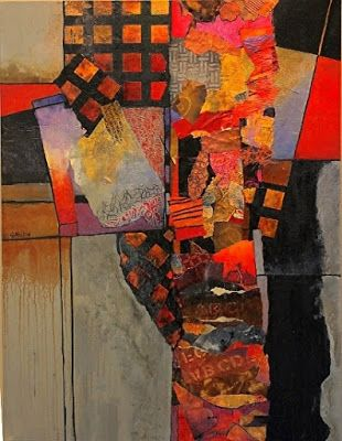 """Where ART Lives Gallery Artists Group Blog: Mixed media abstract collage, """"Billboard 6"""" © Caro..."""