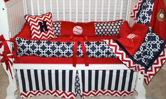 Boys custom baby bedding 6 pc set Baseball set by BabiesNBaubles, $475.00  www.etsy.com/shop/babiesnbaubles