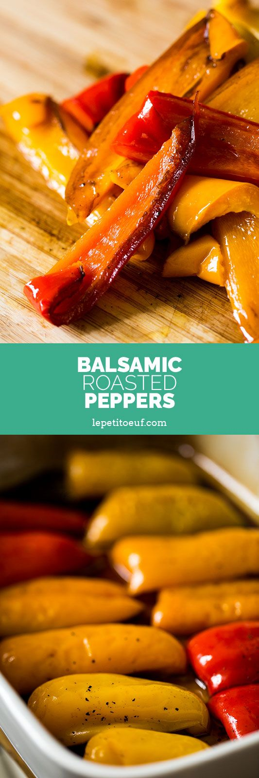 Balsamic roasted peppers are a mediterranean treat made with red, orange, green or yellow peppers, gently braised in the oven with garlic, balsamic vinegar and extra virgin olive oil until they become soft, sweet, richly flavoured slithers of pepper. Perfect for a salad, a picnic or to be served alongside cheese, charcuterie and olives as antipasti. Alternatively make ahead and store them in the fridge until you need them.