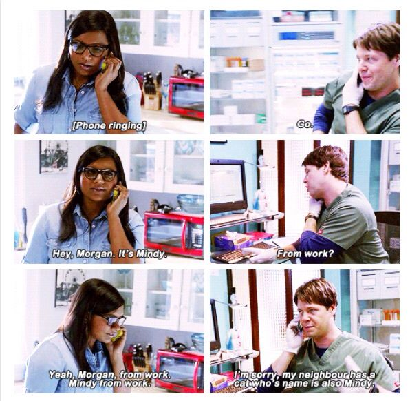 "Mindy: ""Hey, Morgan. It's Mindy."" Morgan: ""From work?"" Mindy: ""Yeah, Morgan, from work. Mindy from work."" Morgan: ""I'm sorry, my neighbor has a cat whose name is also Mindy."" - The Mindy Project"
