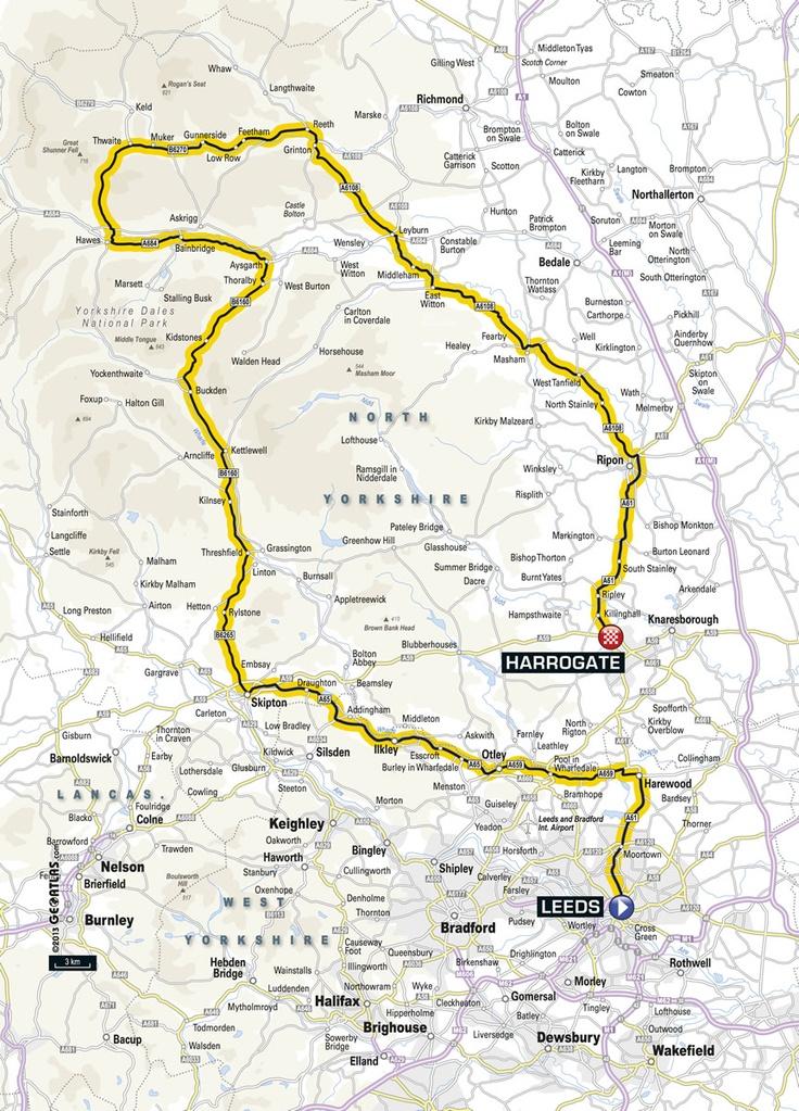 STAGE 1, Saturday 5th July 2014 Leeds to Harrogate: 190KM Leeds - Harewood - Otley - Ilkley - Skipton - Kettlewell - Aysgarth - Hawes - Reeth - Leyburn - Ripon - Harrogate