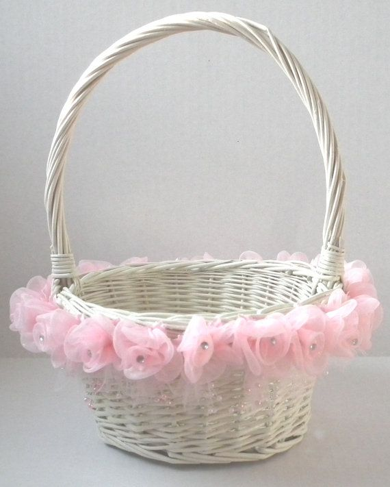Pink and ivory flower girl basket