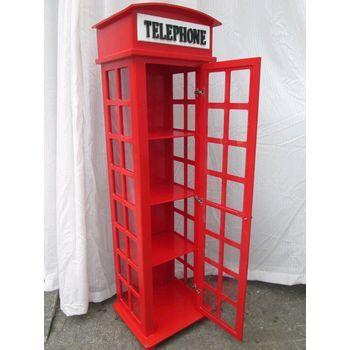 Cabine Telefonica Vermelha Modelo Londres em MDF 49x48x190 cod 11vr