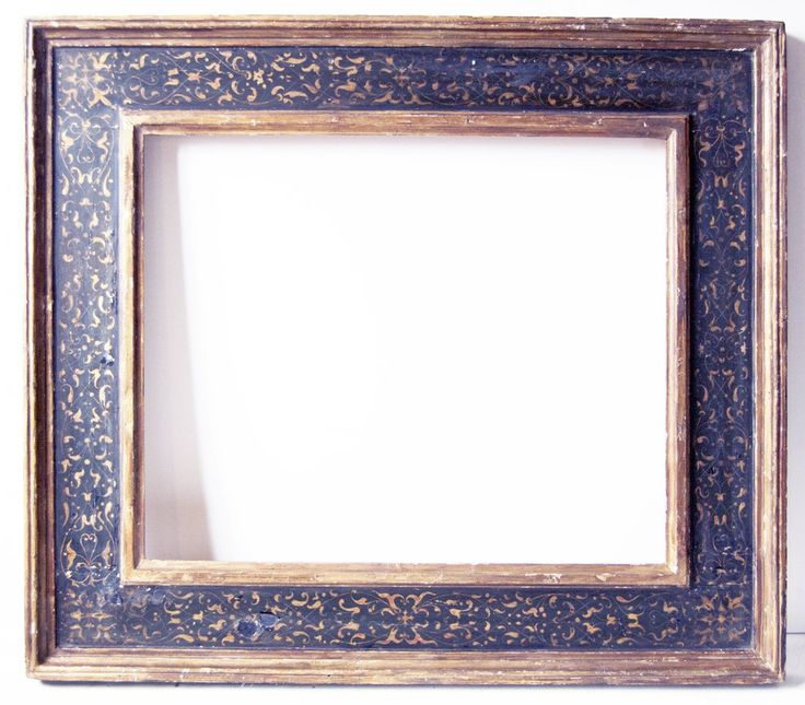 Italian 18th C. hand carved, gilded and polychromed Cassetta frame with designed gilded panel.Canvas size frame can accommodate: 20 x 24 Frame width: 5 1/2