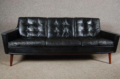 vintage Retro Danish Black leather sofa Goose down cushions eBay