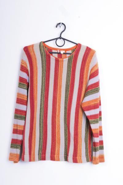 Hess Natur Womens 38/40 M Jumper Cotton Striped Sweater Vintage - RetrospectClothes