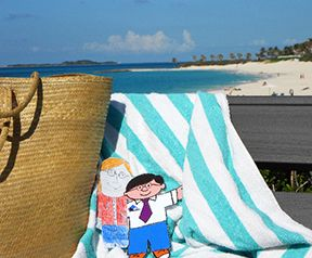 Flat Stanley - St. Thomas Public Library's Character-in-Residence: 2013 Bahamas Adventure, Cabbage Beach & Hog Island