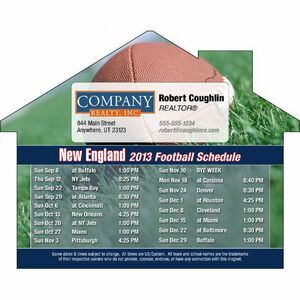 """New England Pro Football Schedule House Shape Magnet (5""""X3 7/8"""")"""