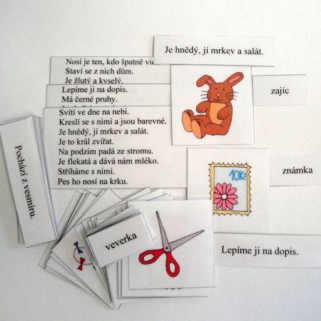obrázková škola, čtení s porozuměním, český jazyk, kartičky