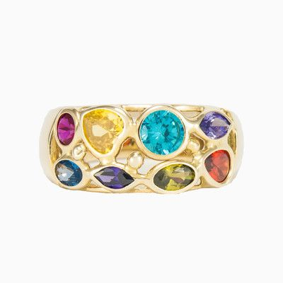 This pretty Mosaico wide band ring is made entirely by hand in 14k gold with two rows of colour stones of different shapes and sizes.