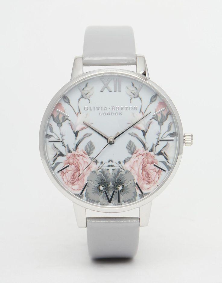 nice Olivia Burton Enchanted Garden Grey Patent Big Dial Watch at asos.com