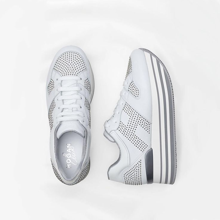 Stunningly studded. The #HOGAN #FW1617 Maxi #H222 #sneakers in white with silver studded accents  Join the #HoganClub #lifestyle and share with us your @hoganbrand pictures on Instagram