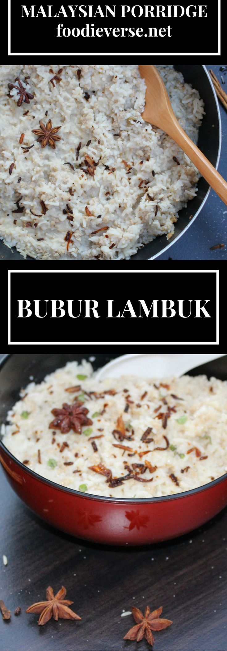 Bubur Lambuk is a Malaysian rice porridge that is traditionally enjoyed during Ramadan. Lemongrass and whole spices transform this to a comforting dish.