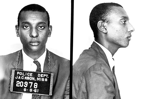 Stokely Carmichael mug shot from the Freedom Riders summer of 1961. He had been arrested for entering a white only cafeteria. He was nineteen.