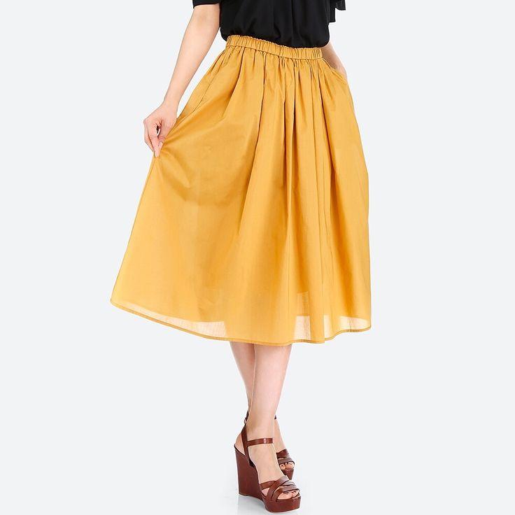 WOMEN High Waist Cotton Lawn Volume Skirt