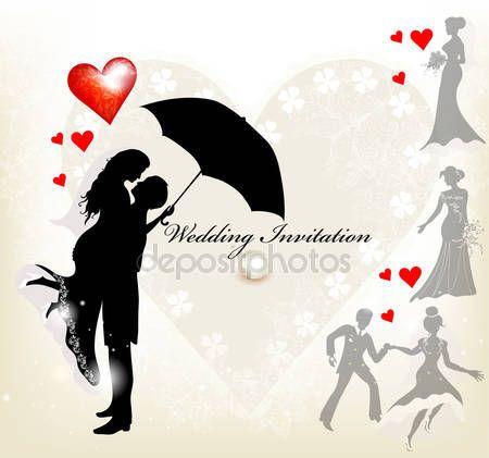 Düğün davetiyesi tasarımı ile hoş bir çift silueti ve — Stok Vektör #15762267