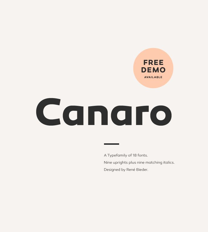 Canaro, a beautifully vintage sans from Fontfabric