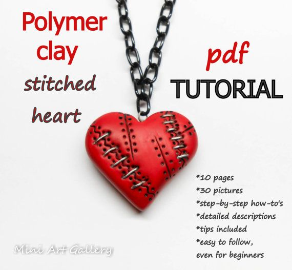 PDF Tutorial Polymer clay Stitched Heart Necklace / DIY crafts, DIY instructions, wounded scarred steampunk Valentine red heart. © Mini Art Gallery