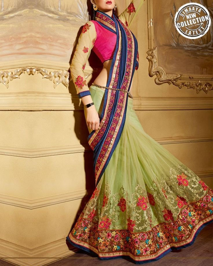 Impress Everyone With Your #Ethnic Look By Wearing These Wedding Special #Sarees From Our Online Store: http://www.simaayafashions.com/light-green-wedding-saree-ssni1802.html  #Wedding #Love #GetNoticed
