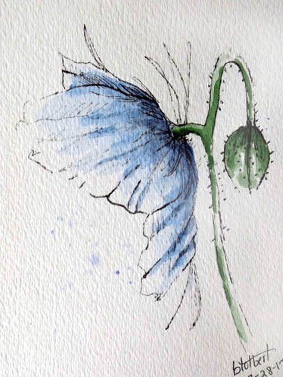 Poppy Flower Blue Original Watercolor Art Painting Pen and Ink Water Color Art Hand Painted Poppy Flower