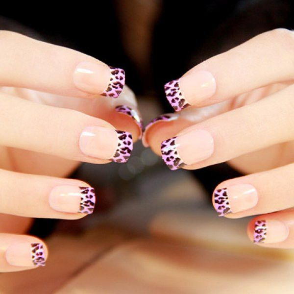 24 PCS Chic Leopard Pattern Splice Design Nail Art False Nails