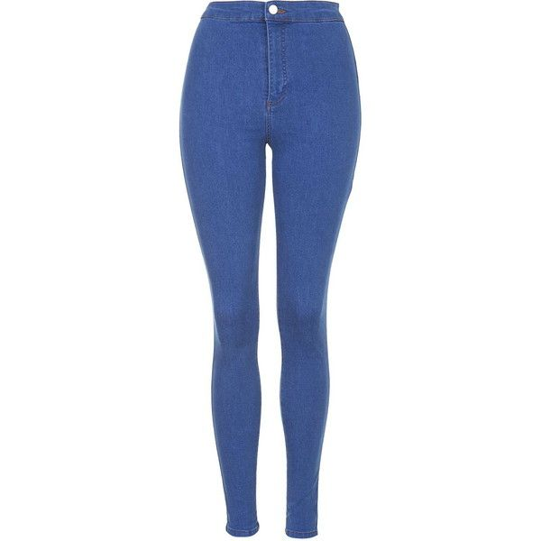 TOPSHOP PETITE Bright Blue Joni Jeans ($65) ❤ liked on Polyvore featuring jeans, pants, bottoms, bright blue, petite, petite jeans, blue high waisted jeans, super skinny jeans, blue jeans and highwaisted jeans
