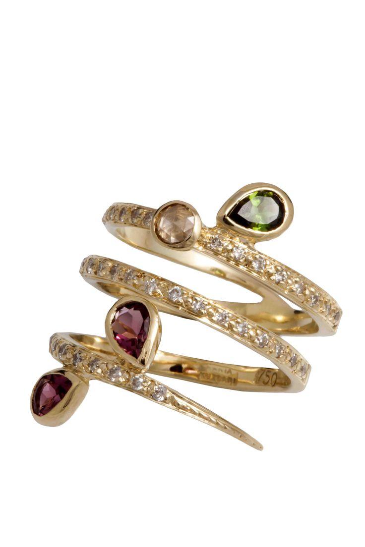 Hania Kuzbari Arabesque Collection ring of 18K yellow gold, brown and white diamond, pink and green tourmaline // http://haniakuzbari.com/arabesque.php
