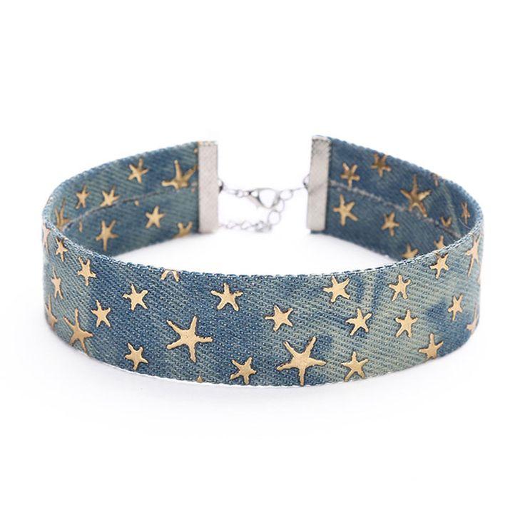 2017 Nouveau Bleu Denim Choker Collier Pour Les Femmes Étoiles Jeans Colliers Tour de Cou Collier ras de cou colar bijoux