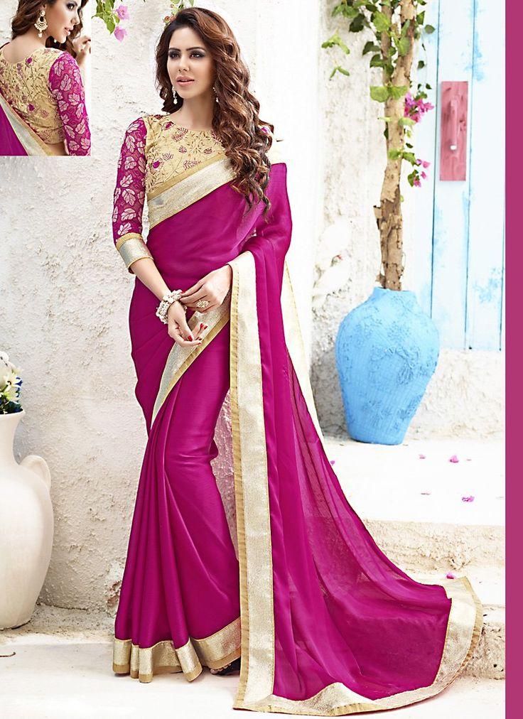 sonam bajwa wonderful Plain Pallu Saree in Fuchsia Color - KLNX0728019AU | Indian Trendz