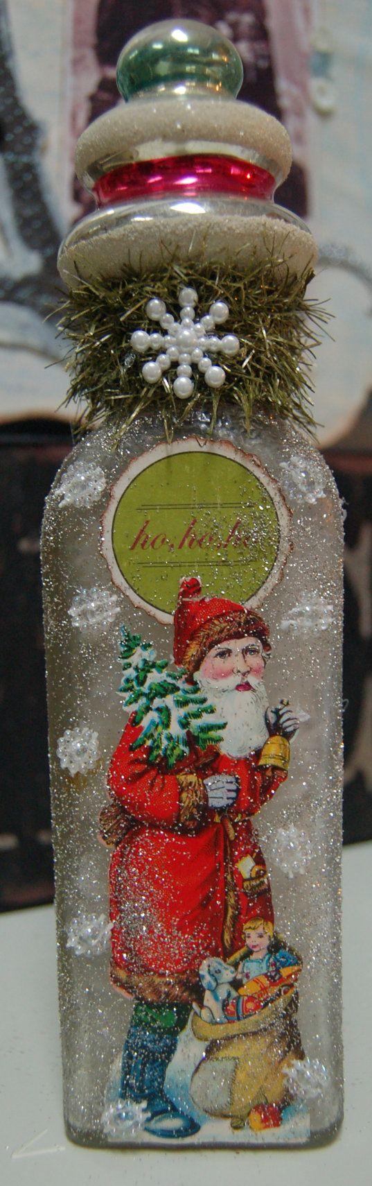 Vintage Christmas Santa Altered Bottle.  by KellyDealDesigns