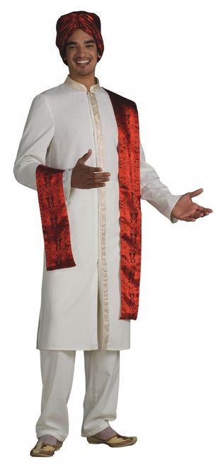 Bollywood East Indian Men's Costume - This awesome Bollywood inspired costume is comfortable and easy to wear. The top is a cream coloured soft polyester nylon fabric with gold trim along the collar and a long strip that flows down to the bottom of the shirt. The pants are the same material, and are baggy styled with an elasticized waist. The Turban is red with black swirly designs all over.  #india #bollywood #costume #yyc #calgary #mens
