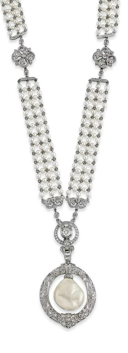 A BELLE ÉPOQUE NATURAL PEARL, SEED PEARL AND DIAMOND SAUTOIR, 1910S. The seed pearl mesh band decorated with diamond-set openwork quatrefoil motifs, suspending a detachable diamond hoop pendant, centring upon a baroque drop-shaped natural pearl. Length 64.5 cm. #BelleEpoque #sautoir