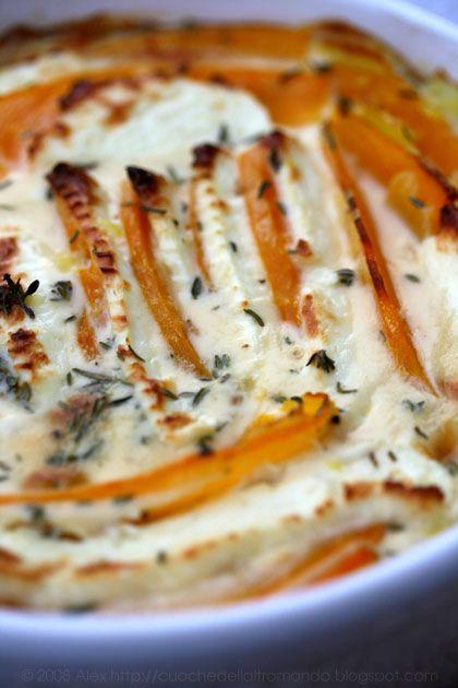 Zutaten für 4 Personen: 700 g Kürbis 600 g festkochende Kartoffeln 200 g Fetakäse 4 Zweige Thymian 1 Knoblauchzehe 200 ml Sahne (oder Milch, für eine leichtere Variante) 2 Eier 1 TL Dijon-Senf Salz…