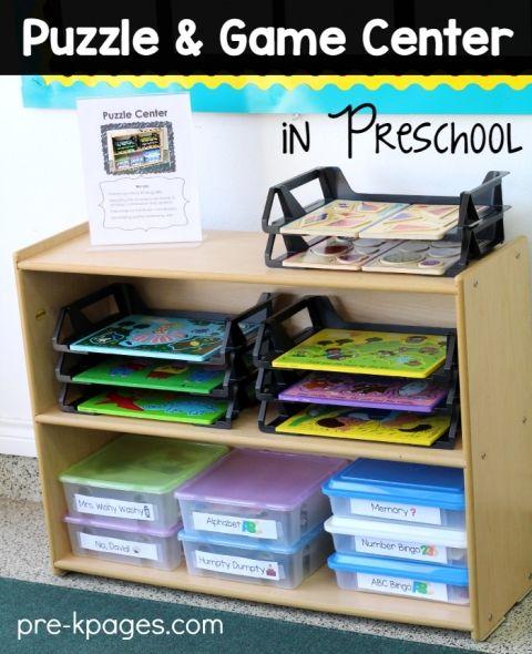 Organized puzzle center in preschool