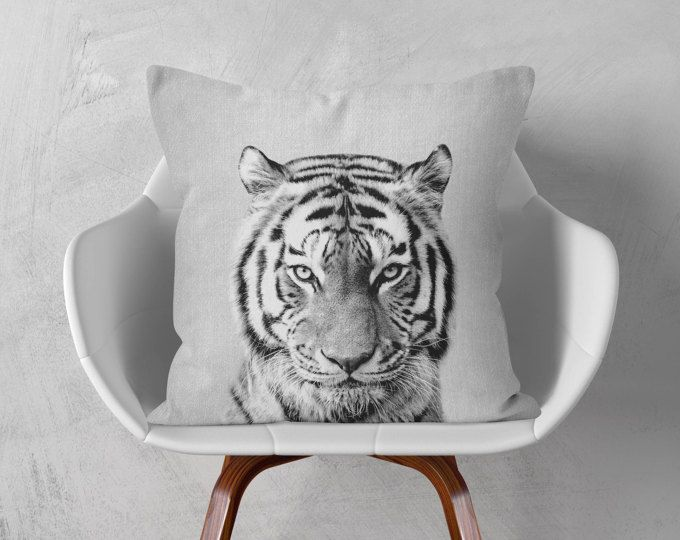 Tigers eye, Decorative pillow covers Animal pillow Animals decoration Dorm decor Home and living Nursery decor boy Black white and grey sham