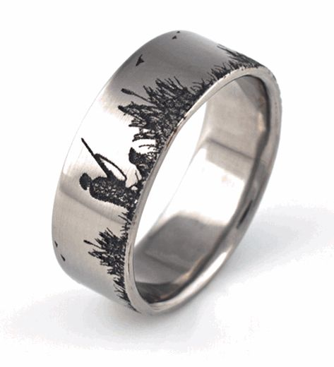 Men 39 s titanium duck hunting scene wedding ring wedding for Fishing wedding band