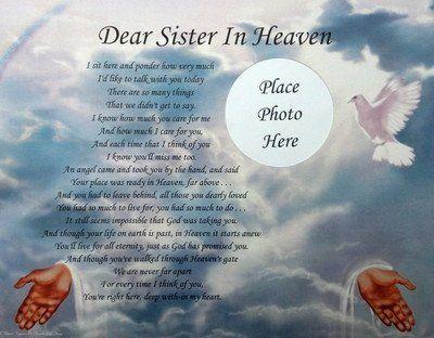 Sister in Heaven Birthday | happy birthday poems for a sister. DEAR SISTER IN HEAVEN MEMORIAL