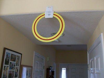 Game Idea: an Indoor Quidditch hoop! Try to get 3 quaffles (nerf balls) through the hoop.