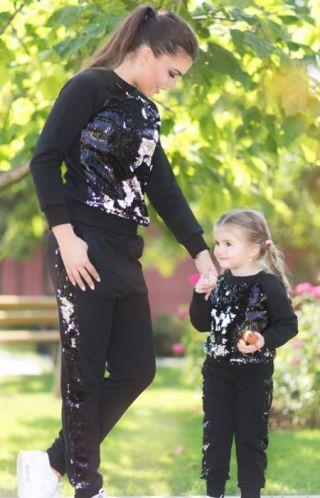Trening mama fiica din bumbac cu paiete