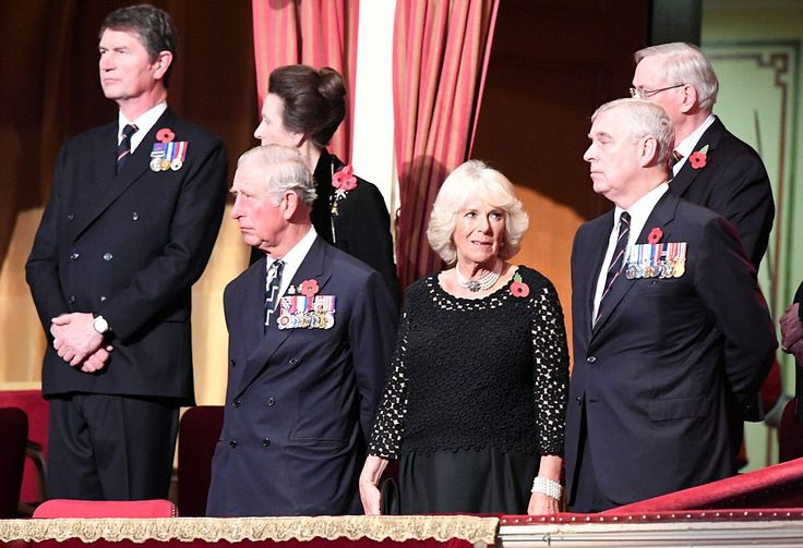 (L-R) Timothy Laurence, Princess Anne, Princess Royal, Prince Charles, Prince of Wales, Camilla, Duchess of Cornwall and Prince Andrew, Duke of York attend the annual Royal Festival of Remembrance at the Royal Albert Hall on November 12, 2016 in London, England.