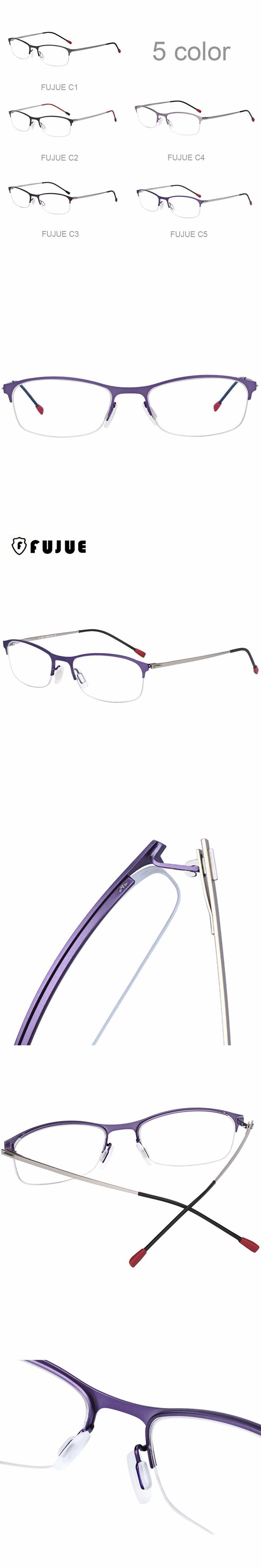 FUJUE Semi-rimless Optical Eyewear Frames Metal Computer Reading Glasses Frame Fashion Women Men Half frame Eyeglasses FJ3031