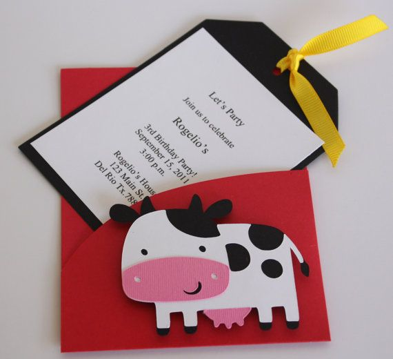 Cow party invitation...use my cricut and make it a pig instead? :)