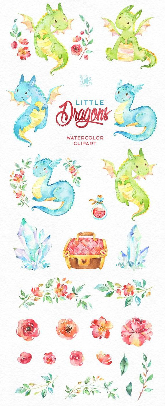 Little Dragons. Watercolor magical, clip art, characters, cute, crystals, floral, creatures, designers, baby shower, stickers, kids. diy