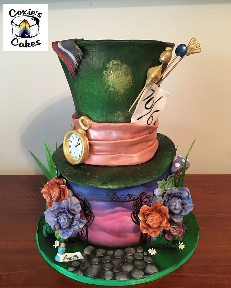 Alice In Wonderland Cake, Mad Hatters Hat. Inspired By Tim