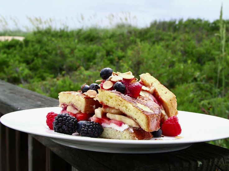 Guy shared his recipe, Strawberry and Banana Stuffed French Toast with Grand Marnier Syrup, on Guy's Family Reunion Special at the Outer Banks.