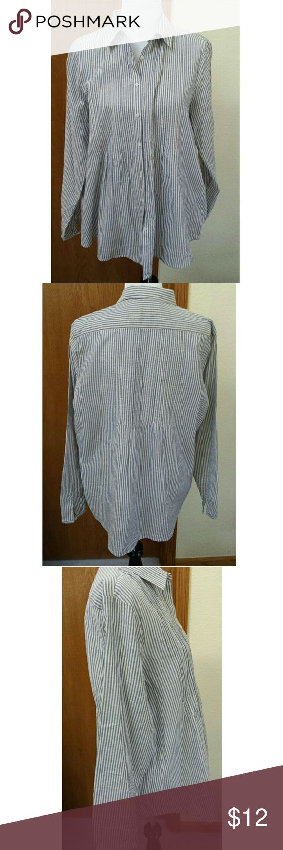 Land's End Pinstriped  pleated button down top Slate blue and white vertical pinstripes adorn this cotton blouse, which is pleated part way down, then blouses out. Soft. Excellent pre-owned condition. Lands' End Tops Button Down Shirts