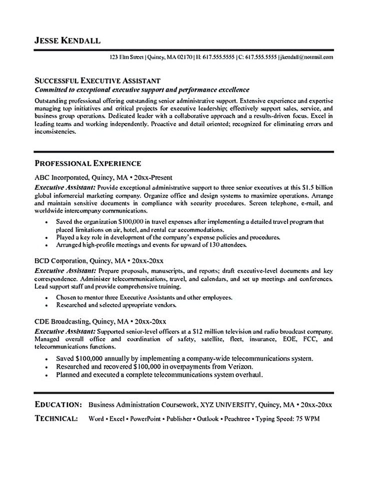 Administrative Resume Template. Executive Administrative Assistant